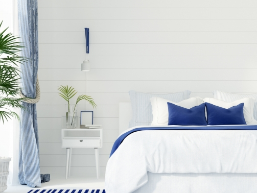 3D illustration. Interior of a modern bedroom in a marine style